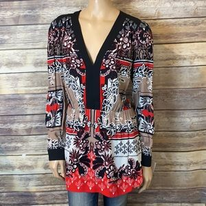 Bebe Tunic Top L Long Sleeve V Neck Floral Red